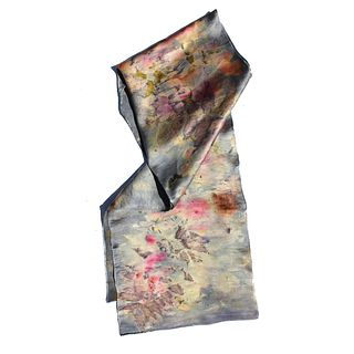 Hand dyed silk satin scarf: Indigo, roses, wildflowers