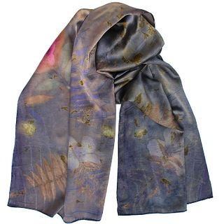 Large silk satin shawl, wrap: Indigo, rose, green