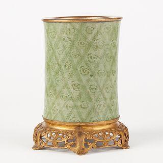 17th c. Chinese Ming Longquan Celadon Brush Pot
