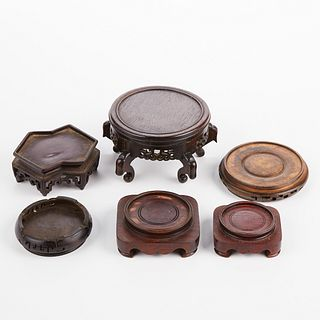 Grp: 6 Chinese Carved Wood Stands