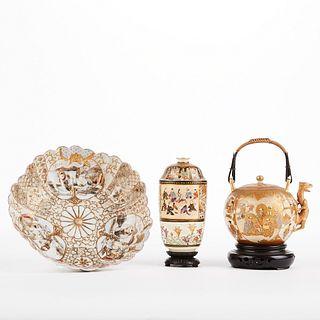 Grp: Satsuma Teapot and Vase w/ Kutani Plate