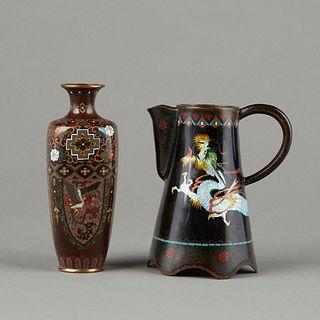 Japanese Cloisonne Enamel Dragon Vase and Pitcher