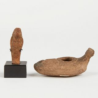 Ancient Ceramic Egyptian Figure & Jericho Oil Lamp