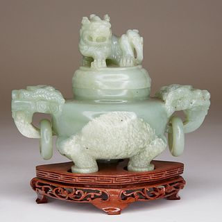 Chinese Hardstone Green Tripod Censer w/ Stand