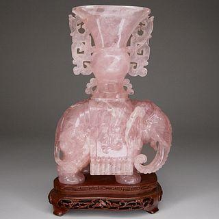 Carved Rose Quartz Elephant Sculpture