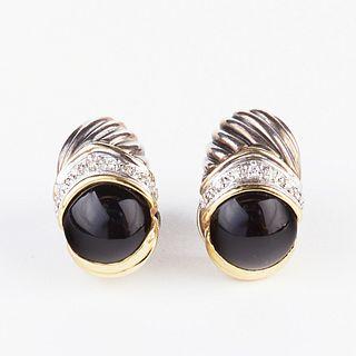 David Yurman Diamond Gold Sterling Earrings