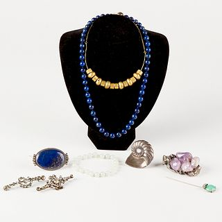 Grp: Sterling Silver Jewelry with Semi-Precious Gems