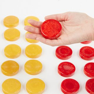 "Jumbo 2"" Crisloid Bakelite Catalin Backgammon Pieces Butterscotch & Red Swirl"