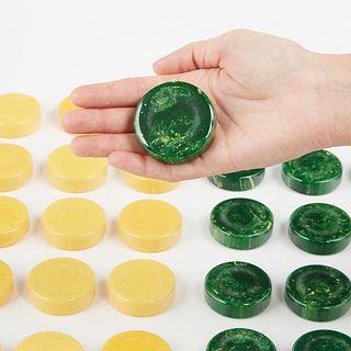 "Jumbo 2"" Crisloid Bakelite Catalin Backgammon Pieces Butterscotch & Green"