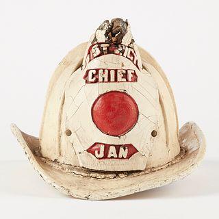 20th c. Painted Leather Fireman's Helmet Eagles Head