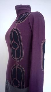 "Plum/Navy ""Ovals"" Applique, Stretch Top (SIZE XS)"