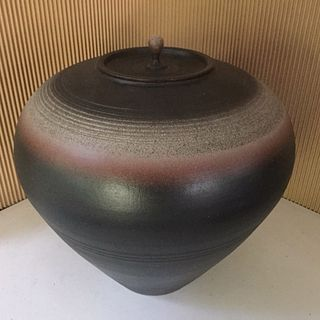 Stephen Merritt Large Charcoal Ceramic Ceremonial Jar