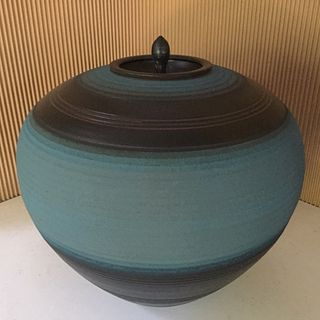 Stephen Merritt Large Blue Ceramic Ceremonial Jar
