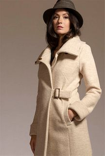 Cowl Neck Coat in Sandstone Virgin Merino, size 8
