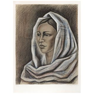 "RAÚL ANGUIANO, Rostro de mujer, Signed and dated 83, Lithography 28 / 150, 24.8 x 20"" (63 x 51 cm)"