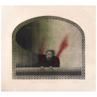 "ALFREDO CASTAÑEDA, Acordonada en ti, sostenido (Ars Magna I), Signed and dated 2000, Etching and aquatint 21/57, 17.7 x 20.8"" (45 x 53 cm)"