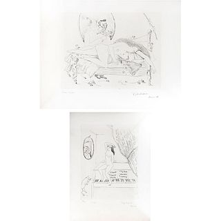 CRISTINA RUVALCABA, a)Rosa b)Mujer, Signed and dated París 78, Etching, 41 / 150 and 38 / 150, Pieces: 2