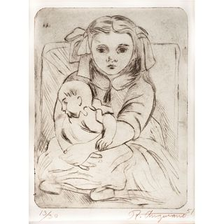 "RAÚL ANGUIANO, Untitled, Signed and dated 51, Drypoint 13 / 30, 78 x 5.7"" (20 x 14.5 cm)"