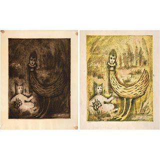 "LOLA CUETO, Edén, Signed on plate and dated 60, Etching and aquatint 1/ 25 and 6 / 25, 9.4 x 7.4"" (24 x 19 cm) each, Pieces: 2"