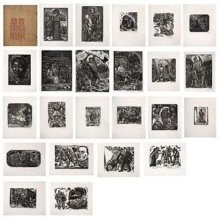 "LEOPOLDO MÉNDEZ, 25 prints of Leopoldo Méndez, Signed, Woodcuts without print number on Japanese paper, 11 x 9"" (28 x 23 cm), Pieces: 23"