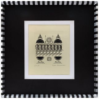"""PEDRO FRIEDEBERG, Untitled, Signed, Aquatint P / A, 29.1 x 29.1"""" (74 x 74 cm) with frame, text on back"""