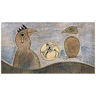 """MAX ERNST, Deux Oiseaux, 1970, Signed on plate, Lithography without print number, 13.1 x 24"""" (33.5 x 61 cm)"""