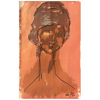 """AMEDEO MODIGLIANI, Tete de Femme portrait, 1916, Signed and dated on plate, Serigraphy without print number, Posthumous edition, 29.1 x 20"""""""