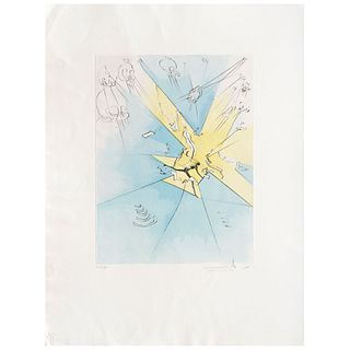 "SALVADOR DALÍ, A Shattering Entrance upon the American Stage, 1974, Signed, Dry point and stencil 126 / 195, 15.7 x 11.8"" (40 x 30 cm)"