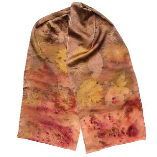 Red, peach, yellow silk scarf: hand dyed, floral