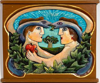 MARY SHELLEY, PAINTED FOLK ART CARVING, ADAM & EVE