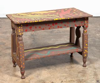 MOSE TOLLIVER, OUTSIDER ART, PAINTED TABLE, SIGNED