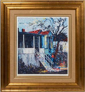 WILLIAM TOLLIVER, PEARL STREET LITHOGRAPH, FRAMED