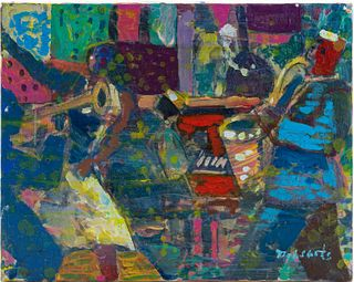 LOUIS DELSARTE, JAZZ PAINTING, OIL ON CANVAS