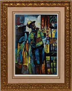 WILLIAM TOLLIVER, JAZZ TRUMPET LITHOGRAPH, FRAMED