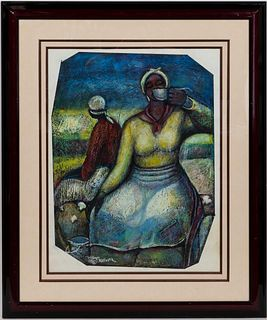 "WILLIAM TOLLIVER, ""COTTON WORKERS"" PASTEL"