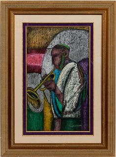 "WILLIAM TOLLIVER, ""JAZZ MUSICIAN"" PASTEL"