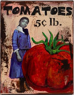 CEDRIC SMITH, TOMATOES, MIXED MEDIA ON CANVAS