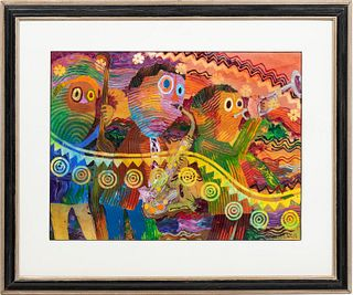 WADSWORTH JARRELL, JAZZ BAND, FRAMED MIXED MEDIA