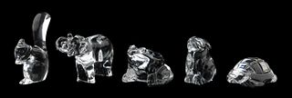 FIVE BACCARAT CRYSTAL ANIMAL FIGURINES