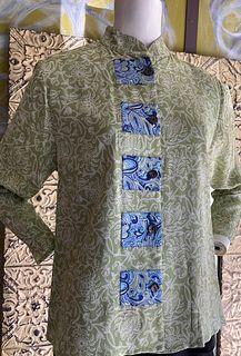 Mid Length Lime Paisley/ Blue trim