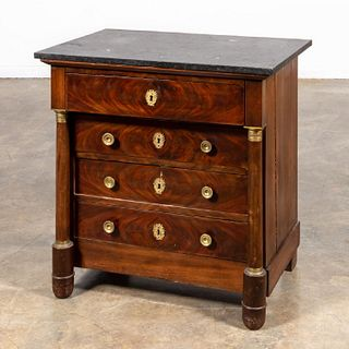 19TH C. FRENCH EMPIRE MARBLE TOP DIMINUTIVE CHEST