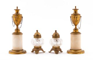 4PC EMPIRE STYLE BRONZE INKWELLS & CANDLESTICKS