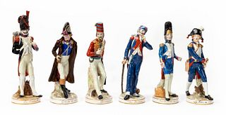 6 FRENCH PORCELAIN SOLDIER FIGURES, MOSTLY SEVRES