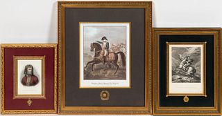 THREE CONTINENTAL NAPOLEONIC PRINTS, FRAMED