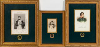 THREE NAPOLEON ENGRAVINGS, FRAMED AS A SET