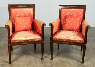 PR. FRENCH EMPIRE STYLE MAHOGANY FRAMED FAUTEUIL