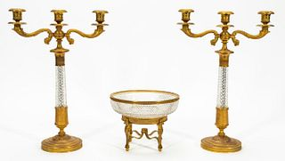 EMPIRE STYLE BRONZE & CRYSTAL CANDELABRA & BOWL