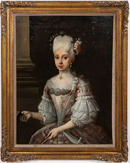 FRENCH, PORTRAIT OF 18TH C NOBILITY, OIL ON CANVAS