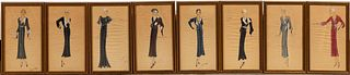 SET OF 8, ART DECO FASHION DESIGNS, FRANCE LUDGEY