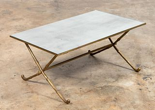 MIRROR TOP BRONZE MAISON BAGUES STYLE COFFEE TABLE